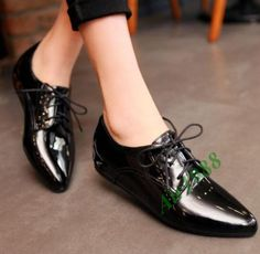 New Womens patent Leather Lace Up Pointed Toe Mules Date Casual Pumps Shoes in Clothing, Shoes & Accessories, Women's Shoes, Flats & Oxfords | eBay