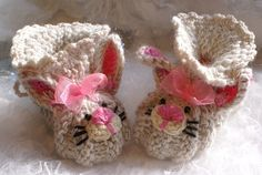 Crochet Baby Booties Knitted Baby Booties by coloratamarmellata, $19.00