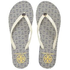 Women's Tory Burch Thin Flip Flop ($48) ❤ liked on Polyvore featuring shoes, sandals, flip flops, tory burch footwear, tory burch, lightweight shoes, thin flip flops and tory burch sandals