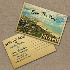 This DIY vintage travel Save The Date postcard features Miami, Florida in fun mid-century retro style.    Matching wedding invitation is here: