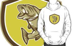 Largemouth Bass Jumping Shield Retro by patrimonio