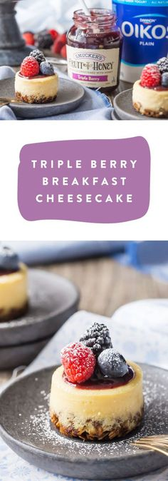 One bite of this Triple Berry Breakfast Cheesecake and all your family will be able to say is yum! Whether you choose to serve it up for weekend brunch or a sweet morning treat, the creamy combination of Oikos Plain Non-Fat Greek Yogurt, granola crust, and Smucker's Triple Berry Fruit and Honey Spread simply can't be beat. Find everything you need to make this recipe at Target.