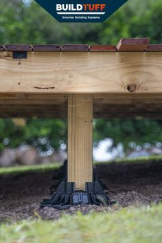 TuffBlocks are a super strong deck block made from 100% recycled plastic. Capable of holding up to 11,000lbs on a single block, they make decks like this super easy. Concrete blocks are similar but won't fit a 4x4 post without having to chisel out the middle section. And when building a low profile deck, the TuffBlocks are only 2 inches from the ground, whereas concrete blocks are typically 6 inches off. By using posts at varying heights, we're able to create a floating deck on a slope. Concrete Deck Blocks, Deck Foundation, Easy Deck, Digging Holes, Raised Deck, Sloped Yard, Make Build, Floating Deck