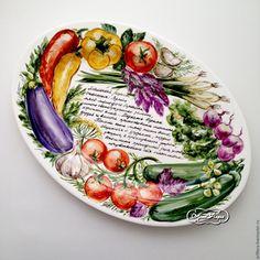 Купить Роспись фарфора Блюдо для шашлыка - блюдо, овощи, роспись посуды, комбинированный, зелень