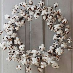 Beautiful Cotton Wreath! Hang on the wall, on your front door or over an old…
