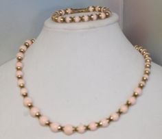 Avon Mid Centry Fashion Jewelry Necklace and Braclet  Pink and Gold Beads ,Prom Necklace , Mothers Gift #bestofEtsy #design