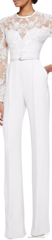 Elie Saab Long-Sleeve Lace-Embellished Jumpsuit    LOLO