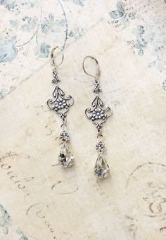 Crystal Glass Earrings Vintage Glass Antique by apocketofposies - wedding?
