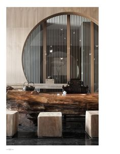 I love the idea of incorporating understated Chinese elements like circles and ornate furniture