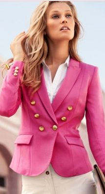 Pink Blazer, White Shirt,White Denim