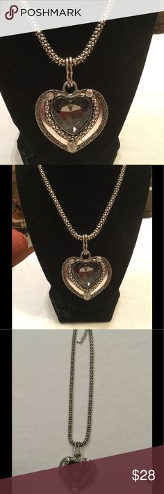 """New Lux heart ❤️ rhinestone necklace Beautiful..measures 12"""" drop or 24"""" total length..Heart measures 2 1/2"""" x 2"""" Lux Jewelry Necklaces"""