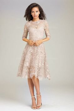 A-Line/Princess Jewel Knee-length Lace Mother of the Bride Dress