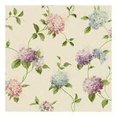 Amazon.com: York Wallcoverings KH7069 Kitchen and Bath Hydrangea Trail Wallpaper, White/Pale Pink/Lilac/Lavender/Purple/Aquamarine/Green: Home Improvement