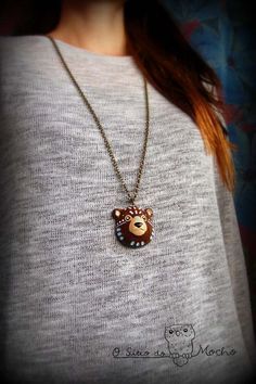 Bear head necklace. Handmade.