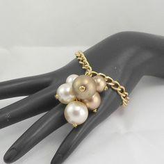 Bracelet cluster dangle goldtone chain heart toggle sz 7 faux pearls bronzetone #unbranded #cluster