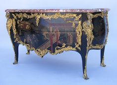 An Extraordinary Fine Palatial French Louis XV Style 19th Century Coromandel Chinoiserie Lacquer and Finely Chased Gilt-Bronze Mounted Two Drawer Serpentine Commode with Marble Top. Circa: 1890.