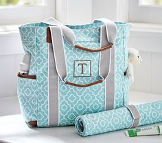 Diaper bag; Personalized Tote from pottery barn. Thinking about getting this for Katies diaper bag?!?