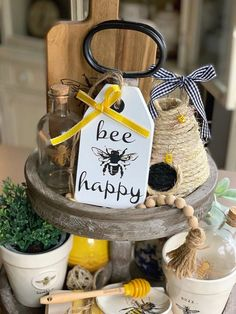 Excited to share this item from my shop: Bee Happy sign / Tiered tray deco. Excited to share this item from my shop: Bee Happy sign / Tiered tray decor / Tiered tray signs / Wood tag / Bee decor / Wooden tag sign / Farmhouse decor Source by Modern Farmhouse Kitchens, Farmhouse Style Kitchen, Farmhouse Decor, Country Farmhouse, Country Kitchen, Happy Kitchen, Farmhouse Sinks, Rustic Kitchen, Kitchen Styling