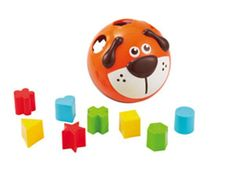 A grow-with-me toy. Younger babies will roll the puppy around on the floor. Older babies can sort colorful shapes then snap the face open to retrieve.