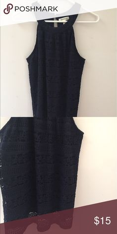 Monteau Lace Halter, Size Large Looks awesome with white jeans! Halter neck, navy colored and lace overlay. Monteau Tops Tank Tops