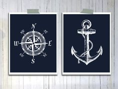 Nautical Compass Rose Anchor Art print Rustic Vintage Gray and white Gift for him Manly Home Office wall hanging Fathers day gift Affordable Compass Art, Nautical Compass, Vintage Nautical, Nautical Home, Vintage Sailor, Nautical Wall Decor, Anchor Art, Deco Marine, Hamptons Decor