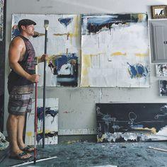 """With new work from my """"Healing Wounds"""" series. #artist #artiststudio #artstudio"""