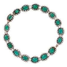 Georgian Cabochon Emerald and Diamond Necklace that can be converted into 2 bracelets, c 1790