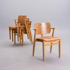 "ILMARI TAPIOVAARA, stolar, 4 st, ""Domus"", Keravan Puuteollisuus, 1950-tal. Tallit, Dining Chairs, 1950s, Furniture, Design, Home Decor, Decoration Home, Room Decor, Dining Chair"