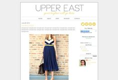 "Blogger Template Premade Blog Theme Design - ""Upper East"" Instant Digital Download, Navy and Yellow"