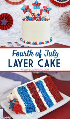 Fourth of July Layer Cake - celebrate Independence Day with a bang by making this fun July cake! Red and blue velvet cake, smooth buttercream, and tons of fun candies on top Fourth Of July Cakes, 4th Of July Desserts, Fourth Of July Food, 4th Of July Celebration, Holiday Desserts, Blue Desserts, Holiday Foods, Celebration Cakes, Holiday Parties