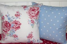 Pink and Blue Pillow Covers Cushion Covers Country Cottage 16 x 16 Shabby Style  Flora Roses on Blue Dotty fabric   Vintage Style Chic