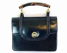 60c69388b Authentic Gucci bag, Vintage Gucci bag, 50s Black Gucci Bag, Bamboo Gucci  bag