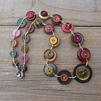 button necklace - autumn colours