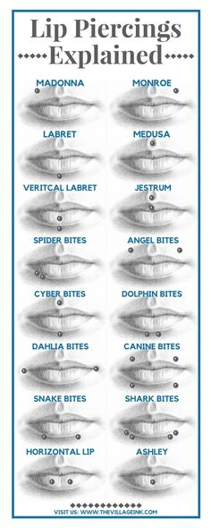 This shows the different names and types of [piercings for the lips