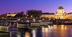 Pont des Arts at Night. The institut de France and Monnaie de Paris can be seen on the opposite bank. France Photography, Beverly Hills, Fine Art America, Taj Mahal, Instagram Images, Night, Building, Travel, Pont Des Arts