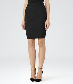 Womens Black Zip-front Pencil Skirt - Reiss Ria - $180 | REISS ...