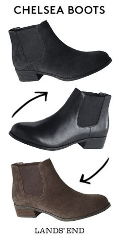 Fall is the perfect time for a re-boot. Take the Chelsea Boot for a spin in brown or black leather or suede. With the style of a riding boot but a great ankle length, these booties are spot-on for wearing with jeans, skirts or dresses.