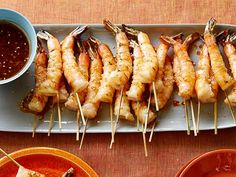 Grilled Shrimp Skewers with Soy Sauce, Fresh Ginger and Toasted Sesame Seeds Recipe : Bobby Flay : Food Network