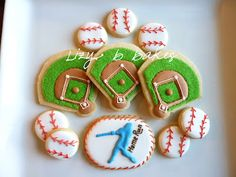 Baseball cookies @Amy Stephens. Looks like something you could do.