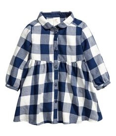 Dress in checked cotton flannel with a rounded collar and buttons at front. Long sleeves with roll-up tab and button, gathered seam at waist, and Kids Dress Wear, Baby Dress, Baby Girl Fashion, Fashion Kids, Baby Outfits, Kids Outfits, Checkered Outfit, Girlie Style, Family Picture Outfits