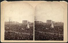 Crowd at the inauguration of Rutherford B. Hayes on the east front grounds of the U.S. Capitol, surrounding Horatio Greenough's statue of George Washington, March 5, 1877.
