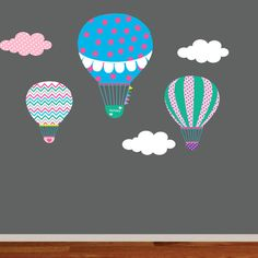 Nursery Wall Decal,Hot Air Balloon,Balloon Wall Decal,Chevron Pattern,Boy Girl Nursery on Etsy, $85.00