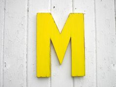 kids wooden wall decor letter m 12 inch yellow nursery wall hanging letters home decor
