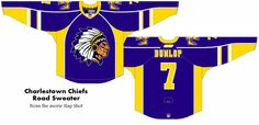 Charlestown Chiefs Road Sweater - A modern version of the jerseys from the movie Slap Shot Slap Shot, Ice Hockey, Uni, Modern, Sports, Sweaters, Movies, Hs Sports, Trendy Tree