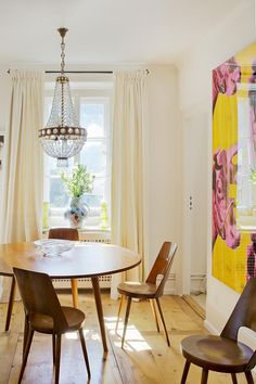 1950's French table and chairs, early-20thC chandelier. Pink & Yellow & Black III (Brightness) by Louise Lawler. Matthias Brunner