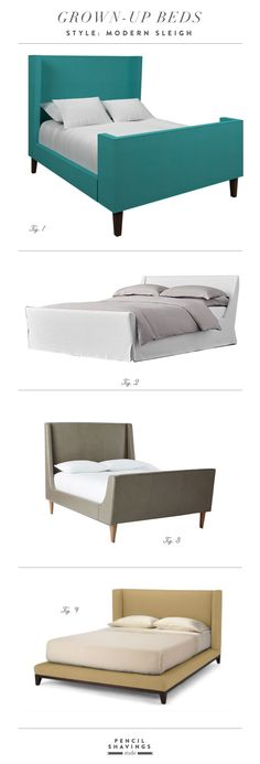 Grown-Up Style: Modern sleigh bed roundup - www.pencilshavingsstudio.com