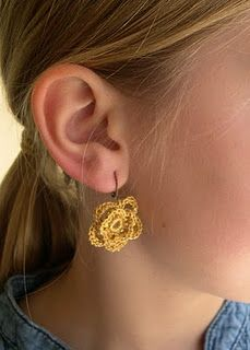 crochet flower earring