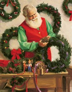 Santa making a wreath by Tom Browning Christmas Scenes, Christmas Past, Father Christmas, Retro Christmas, Vintage Christmas Cards, A Christmas Story, Christmas Pictures, Christmas Holidays, Vintage Christmas
