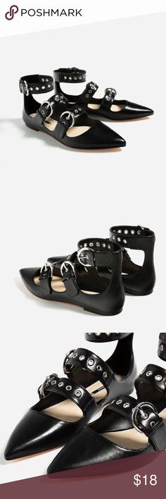 Zara Black Pointed Flats with Buckles Brand new, never worn. Black pointed flats with buckle straps. Run small-ish for a size 8 Zara Shoes Flats & Loafers