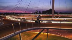 bird's-eye view Hovenring Eindhoven (the Netherlands) designed by ipv Delft. This spectacular circular cycle bridge in the Dutch city of Ein...